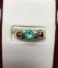 stunning two tone 14kt yellow and white gold 0.80 ct green diamond ring