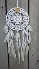 NEW HANDMADE WHITE DREAM CATCHER FEATHERS HELP SLEEP NO BAD DREAMS / dclace22