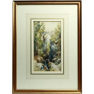 Signed Framed Original Dartmoor Landscape Painting Lydford Gorge Bridge 1917