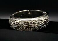 Vintage Wide Cuff Bracelet Silver Filigree