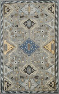 LIGHT GRAY Geometric Tribal Assorted Oriental Area Rug Hand-tufted 5'x8' Carpet