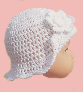 HANDMADE BABY GIRLS WHITE SUN HAT christening 100% cotton flower summer brim cap