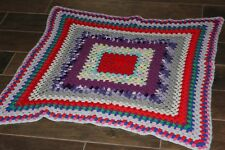 Gorgeous Crocheted Square Lap Afghan Blanket Throw! Purple Red White Pink Blue