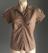 Gorgeous  Brown WITCHERY Fitted Short Sleeve Stretch Shirt Size 10