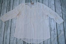 WOMEN'S SIZE L NINE WEST VINTAGE AMERICA SHEER TUNIC BOHO Ivory