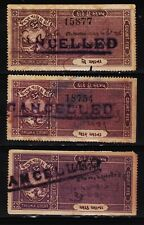 INDIAN STATE JETPUR 3 DIFFERENT CF REVENUE FISCAL OLD STAMPS #100