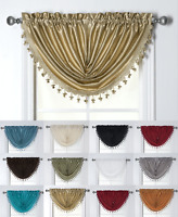 Chic Luxury Waterfall Austrian Tassle Trimmed Window Valances - Assorted Colors