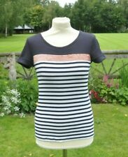 ** Marc Cain ** Navy & White Top ** Sequin Detail ** N3 **