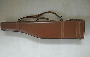 Vintage Leg of Mutton brown leather shotgun case with carry straps