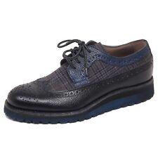 F4682 scarpa inglese uomo black/blue CORVARI tissue/leather shoe man