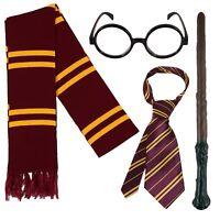 Costume di Harry Potter Wizard: bacchetta, cravatta, sciarpa e occhiali!