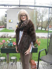 "#25 so beautiful GLAMOUR  SQUIRREL FUR STOLE wrap DARK BROWN 64""in long"