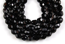 Black Round Faceted Loose Glass Beads Jewelry Craft 6mm 50 pcs