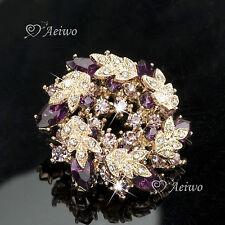 Swarovski Crystal Purple Flower Brooch Elegant 18K Yellow Gold Gp Made With