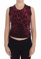 Dolce & Gabbana Vest Sweater Purple Leopard Wool Knit Top S. It36 / Us2