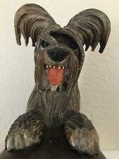 """Anri Vintage Hand Carved Skye Terrier Dog Humidor Tobacco Holder 11.5"""" Rare!"""