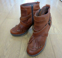 Next Ladies Cuban Heel Side Zip Brown Leather Ankle Boots Size UK 4 EU 37