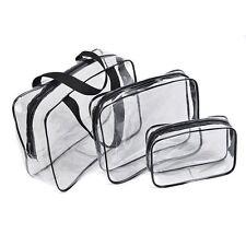 Hot 3pcs Clear Cosmetic Toiletry PVC Travel Wash Makeup Bag (Black) ED