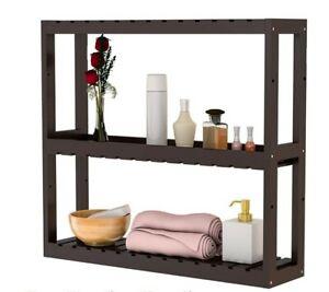 Bamboo Bathroom Shelf 3-Tier Wall Mount/Free Standing Storage Rack Adjustable