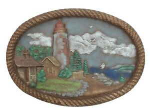 Vintage 1981 HERSHEY Molds Hand-Painted Oval 3D Ceramic Plaque Lighthouse Shore
