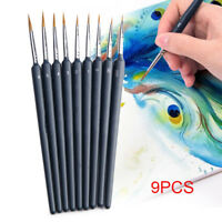 9pcs/Set Artist Nylon Hair Brush Pen for Gouache Watercolor Paint Oil Painting