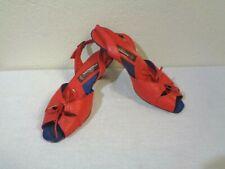 Vintage Jordache Red Leather String Tie Peep Toe Slingback Low Heel Sandals 00006000