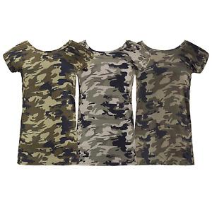 NEW Women Camo Shirt Side Zipper Short Sleeve Ladies Short Sleeve Size S-2XL