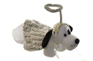 Pet Animal Dog Puppy White Silver Angel Wings Halo Halloween Costume S M L NEW