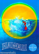 Hawaii Hawaiian Surf Surfing Beach  United States Travel Poster Advertisement