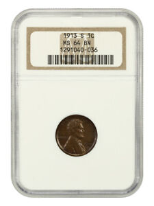 1913-S 1c NGC MS64 BN - Lincoln Cent