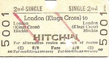 B.R.B. Edmondson Ticket - London Kings Cross to Hitchin