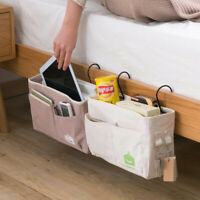 Canvas Bedside Caddy Hanging Storage Bags Organizer Hooks Bed Chair Bag US