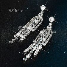 18K WHITE GOLD SIMULATED DIAMOND PARTY STUD LUXURY TASSEL CLUSTER EARINGS