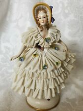 RARE Vintage German Dresden Porcelain Lace Lady Figurine OUTSTANDING  CONDITION