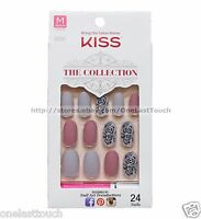 KISS 24 Glue-On Nail MATTE+BEIGE+MAUVE+FLOWER Collection MEDIUM Oval 62270 1c