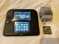 Nintendo 2DS FTR-001 Console Black/Red Charger With Mario Kart Ds Tested/Working