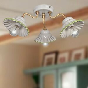 Ceiling Chandelier Brass Satin And Ceramics 3 Lights Rustic Country