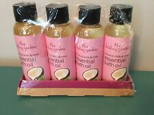 Lot of 4 The Healing Garden Coconut Milk & Lime Essential Bath Oil Plus Display