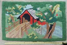 Antique folk art hooked rug covered bridge forest scene ca. 1920 hand stitched