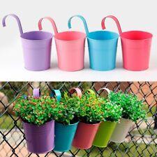 10 Colors Iron Flower Plant Pots Garden Balcony Hanging Planters Metal Bucket