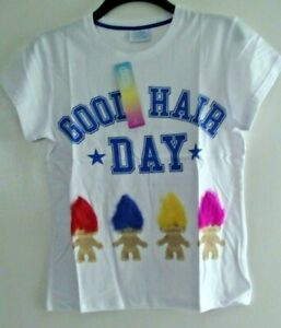 WOMEN'S/GIRLS TROLLS GOOD HAIR DAY WHITE MEDIUM 10/12 OR LARGE 14/16 T-SHIRT.