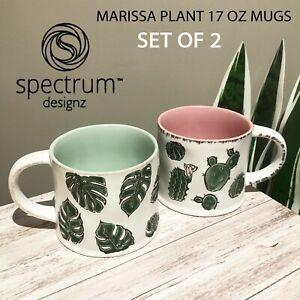 SET OF 2 New Spectrum - MARISSA PLANT MUGS - Monstera Leaves Cactus Succulents