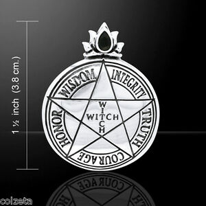 WITCH PENDANT 3cm 925 S.Silver PENTAGRAM by PETER STONE designed by LORI BRUNO