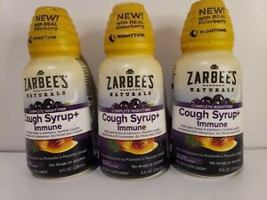ZARBEES NATURALS NIGHTTIME COUGH SYRUP IMMUNE 8 FL OZ EA. (LOT OF 3)