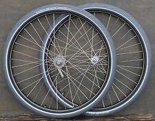 """Antique Bicycle 28"""" WHEELS Vintage New Departure Morrow Hubs Tires Wood Rim Bike"""