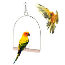 wooden natural birds perch parrots hanging swing cage toys stand holder pendanLJ