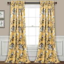 French Country Toile Room Darkening Window Curtain Panels Yellow/Gray 52X84+2...