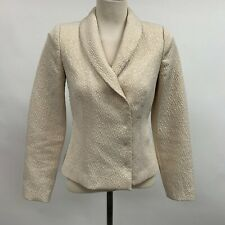 Magaschoni Collection Women's Blazer Size 2 Glittery Gold Lined Wedding Evening
