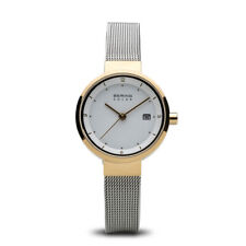 Bering Time Slim Solar Polished Gold Steel Case White Dial Women Watch 14426-010