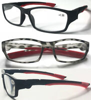 TD1042 Valued Sports Style Frame Plastic Reading Glasses/Silicone Covered Arms